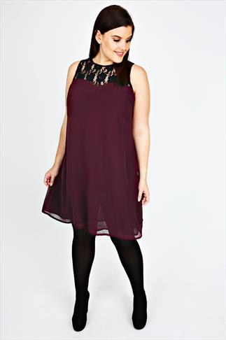 Wine Swing Dress With Black Lace Detail