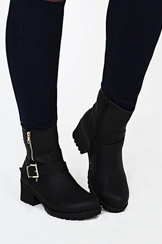 Black Biker Ankle Boot In EEE Fit