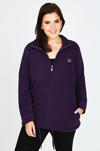 Purple Turtle Neck Zip Up Microfleece With Front Pockets