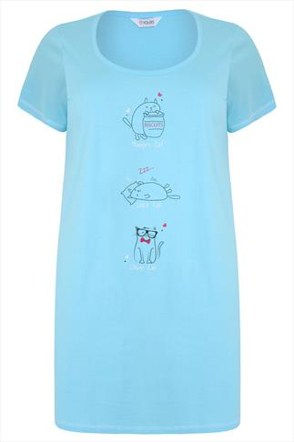 Baby Blue Three Cat Print Cotton Nightdress