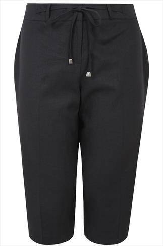 Black Linen Mix Cropped Trousers With Tie Detail