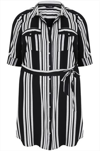 Black And Ivory Striped Shirt Tunic With Tie Waist