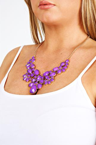 Purple & Gold Beaded Statement Necklace