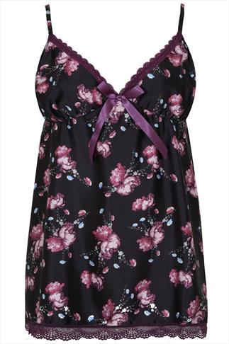 Black & Purple Floral Print Satin Baby Doll