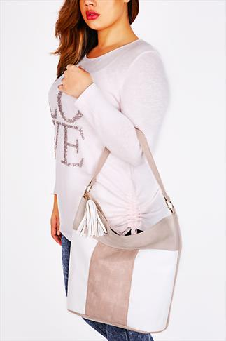 Nude And White Colour Block Tassle Shoulder Bag