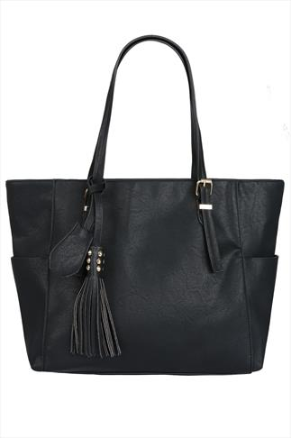Black Oversized Tote Bag With Gold Stud & Tassel Detail