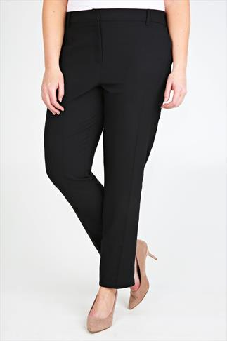 Black Slim Leg Ankle Length Trousers With Stretch Waist