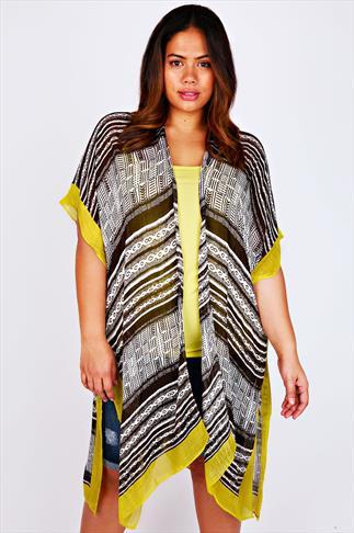 Monochrome & Lime Mixed Print Lightweight Kimono Wrap
