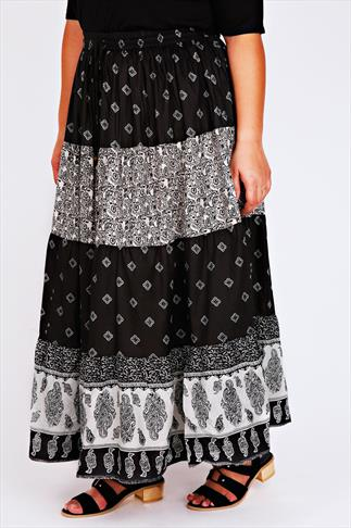 Black & White Paisley Print Gypsy Maxi Skirt