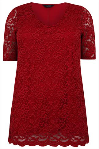 Red Stretch Floral Lace Front Top With Scalloped Hem