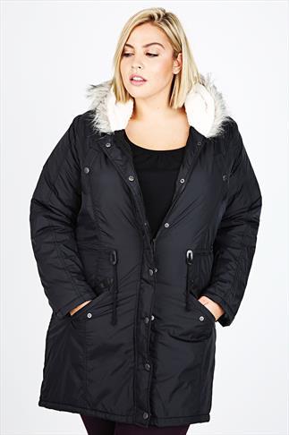Black Fishtail Parka Coat With Fur Hood