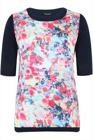Navy Jumper With Floral Print Front Panel