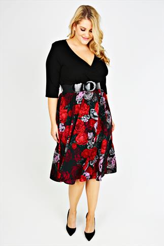 SCARLETT & JO Black and Red Floral Print 2 in 1 Wrap Dress