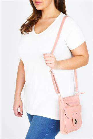 Pink Front Lock Detail Across The Body Bag