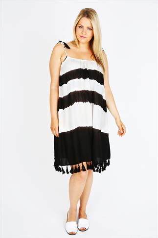 Black & White Tie Dye Tunic With Fringed Tassels