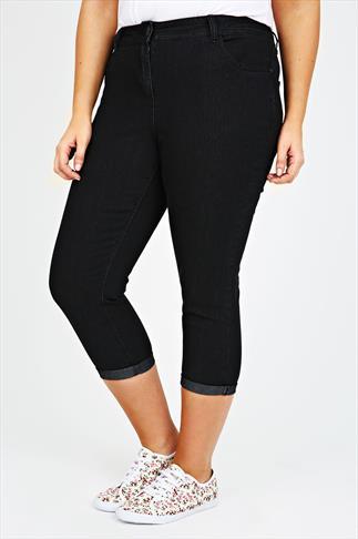 Black Denim Crop Jean With Stitch Detail