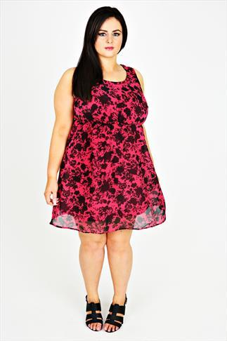 Magenta Floral Print Skater Dress With Studded Detail