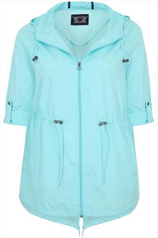 Mint Shower Resistant Pocket Parka Jacket With Hood