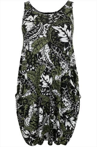 Green & Black Palm Print Drape Pocket Sleeveless Jersey Dress