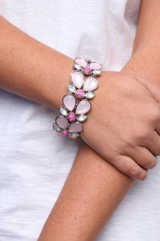 Silver And Pink Jewel Rose Stretch Bracelet