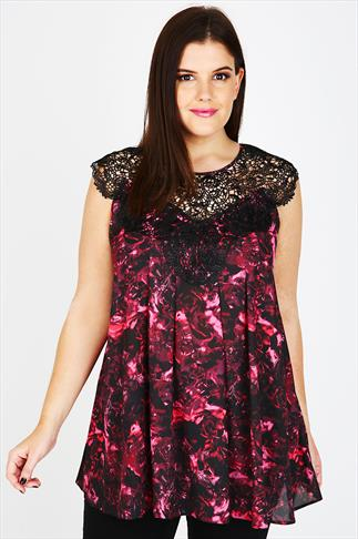 Pink Rose Print Sleeveless Swing Top With Lace Panel