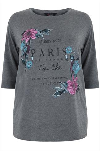 Grey Marl Floral & 'PARIS' Print Sweat Top
