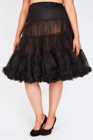 HELL BUNNY Black Petticoat Flare Skirt