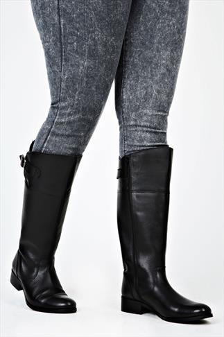 Black Knee High Leather Riding Boots XXL Calf Fitting In EEE Fit