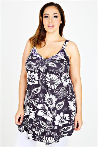 Purple & White Tropical Print Camisole With Jewelled Neckline