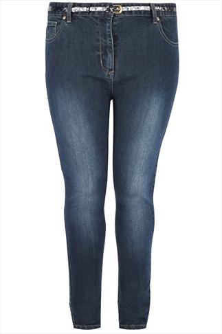 Indigo Skinny Jeans With Animal Print Belt