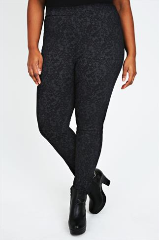 Black & Grey Lace Print Jeggings