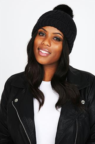 Black Knitted Beanie Hat With Fur Bobble