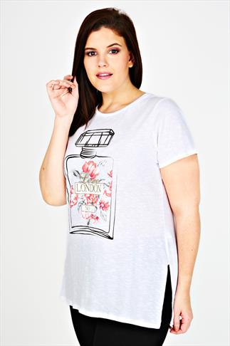 White Floral 'London' Perfume Bottle Print Short Sleeved T-Shirt