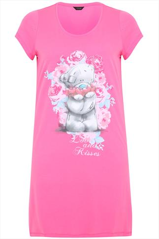 Pink 'Love & Kisses' Bear Placement Print Nightdress