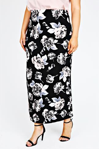 Black & Pink Floral Maxi Skirt With Elasticated Waist