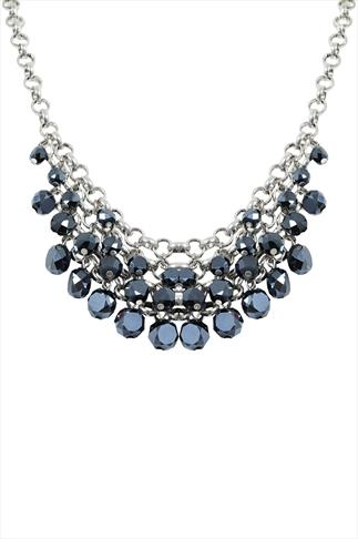 Silver & Blue Bead Statement Necklace