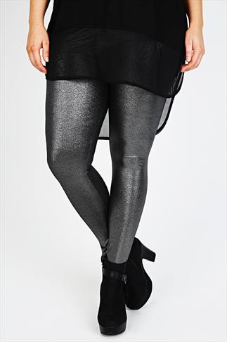Silver Foil Print Leggings