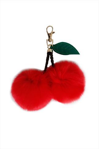 Red Fluffy Cherry Pom Pom Keyring