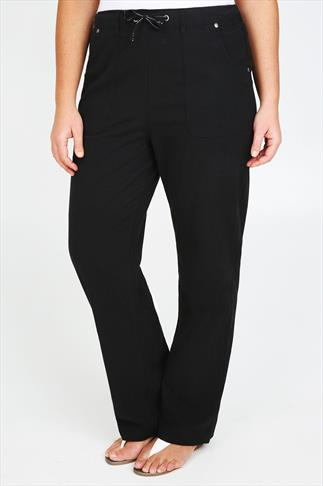 Black Full Length Cool Cotton Trousers