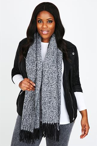Grey Boucle Blanket Scarf With Tassels