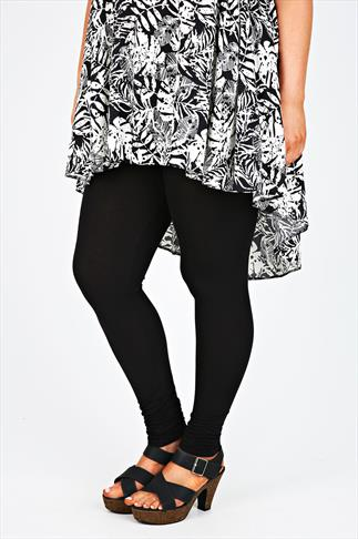 Black Full Length Leggings With Ruched Cuffs