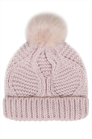 Dusky Pink Knitted Beanie Hat With Fur Bobble