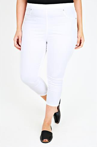 White Cropped Denim Jeggings