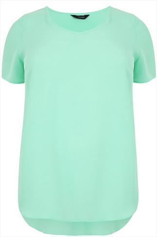 Pale Green V-Neck Chiffon Top With Pleat Back And Dipped Hem