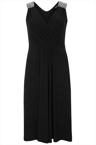 Black Sleeveless Stretch Midi Dress With Jewelled Shoulders