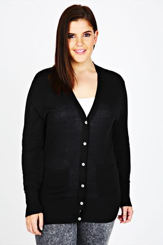 Black Fine Knit Button Though Cardigan With Mother Of Pearl Buttons