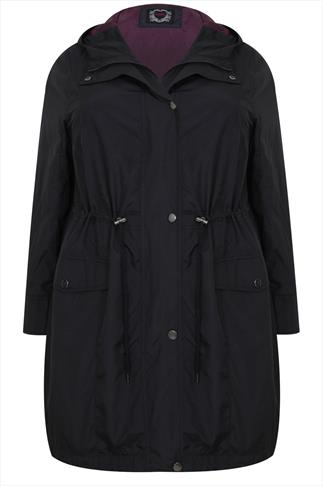 Black Pocket Parka Jacket With Hood
