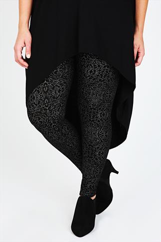 Black and Silver Printed Viscose Elastane Leggings