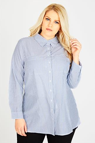White And Blue Vertical Striped Boyfriend Shirt