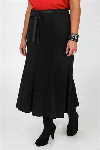 Black Ponte Panelled Maxi Skirt With Front Bow Tie